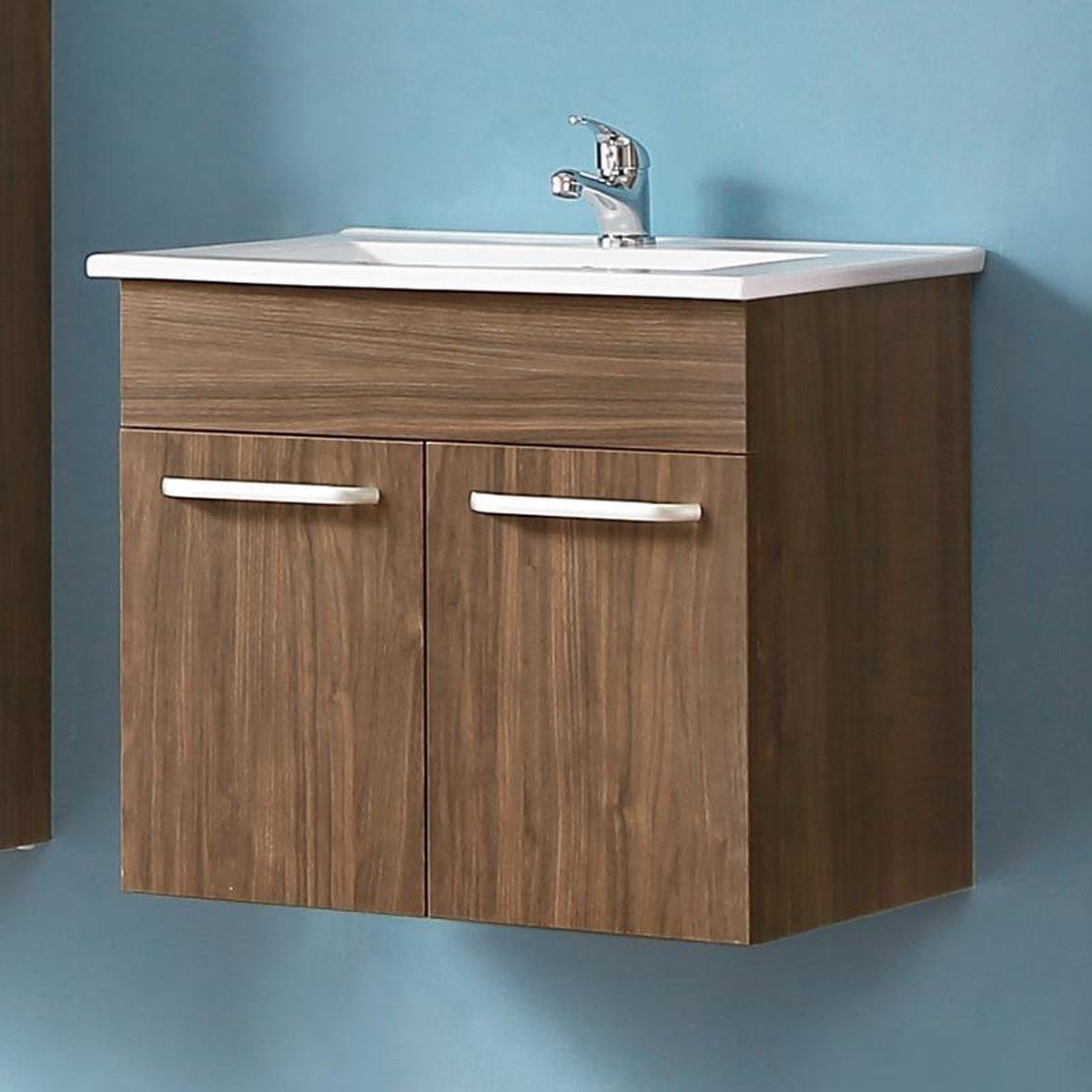 Badmeubel 60 cm walnoot kleur met onderbouw kast, keramiek Wastafel, Badmeubel met waskom, Badkamermeubel Set, Wastafelonderkast