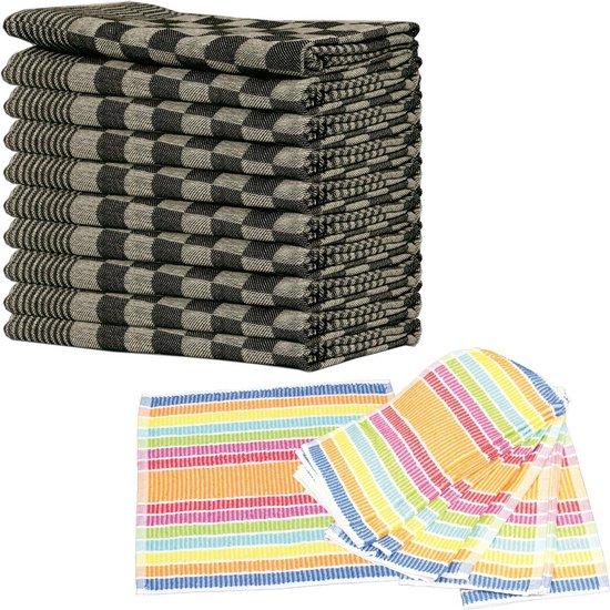 Queens theedoeken 10-pack zwart + 10-pack vaatdoeken schoonmaakdoeken