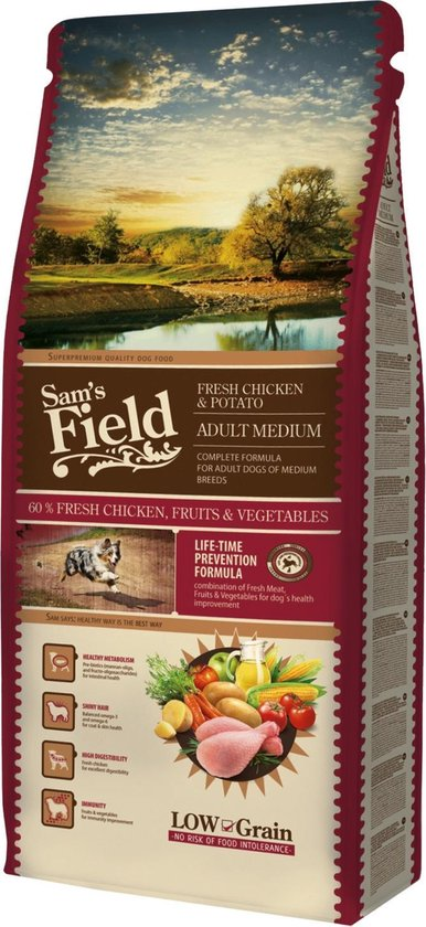 Sam's Field Adult Medium - Kip & Aardappel - Hondenvoer - 13 kg