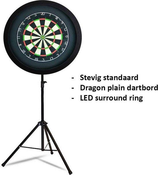 Dragon darts - Portable dartbord standaard LED pakket - inclusief best geteste - dartbord - en - LED surround ring - zwart