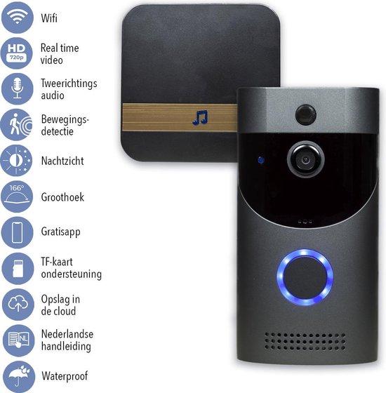 ViDo Deurbelset - Draadloos - WiFi - Infrarood met nachtzicht - Zwart