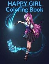 Happy Girl Coloring Book