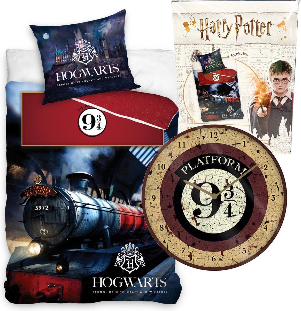 Harry Potter Dekbedovertrek - Eenpersoons - 140 x 200 cm - katoen - Jongens meisjes dekbed - incl. Trein Platvorm 9.3/4 wandklok 25cm
