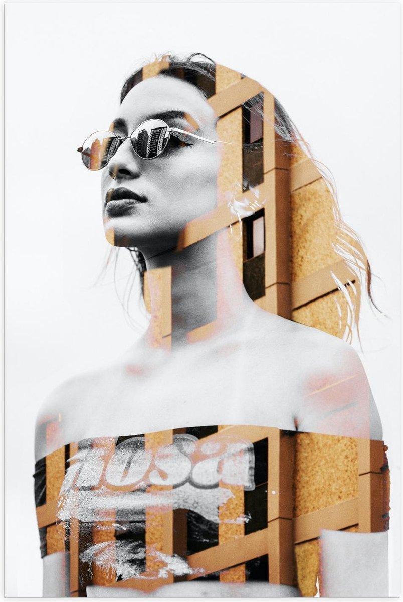 Poster   Vrouw gemixt met Gebouw - 60x90cm Foto op Posterpapier