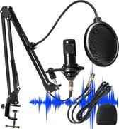 Microfoon voor PC & Laptop met USB Plug & Play- Incl. Microfoonarm- Studiomicrofoon met shockmount & popfilter- Gaming, Streaming & Podcast- Incl. Tripod & Plopkap