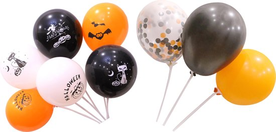 60 stuks Halloween Ballonnen  set  MagieQ zwart/oranje/papieren confetti Feest|Party|Decoratie|versiering