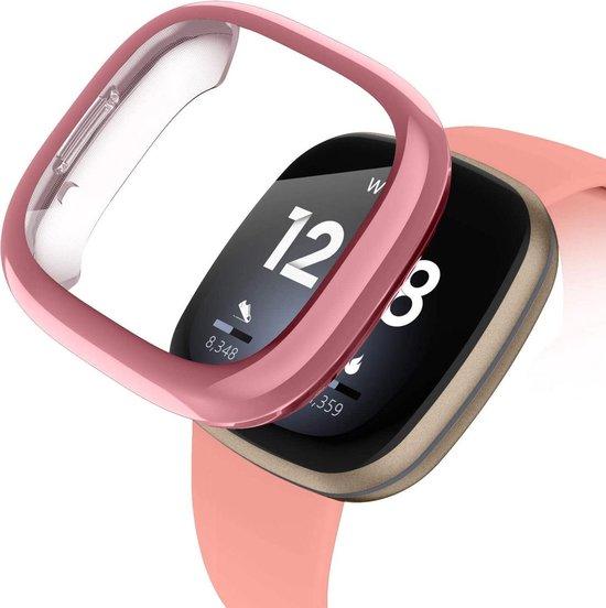 Bumper voor Fitbit Versa 3 – Sense – Siliconen Case Screenprotector Bescherming Hoesje – Rose Gold