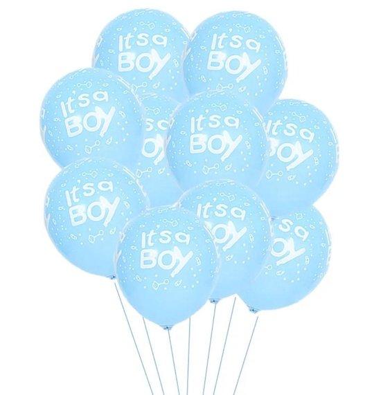 15 stuks Blauwe Ballonnen Set - met opdruk It`s a Boy - Gratis Ballonslinger - Babyshower - Kraam Cadeau - Geboorte - Hoera een Jongen