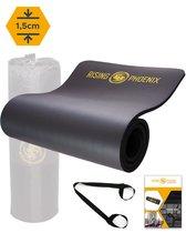 RP® Fitness Mat Yoga Mat 1,5 cm Sport Fitnessmat Anti Slip - Draagtas & Draagriem - Gym Workout Ebook & Poster - Zwart
