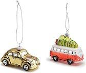 Volkswagen kerstballen - Beetle & T1 Bulli - goud / rood