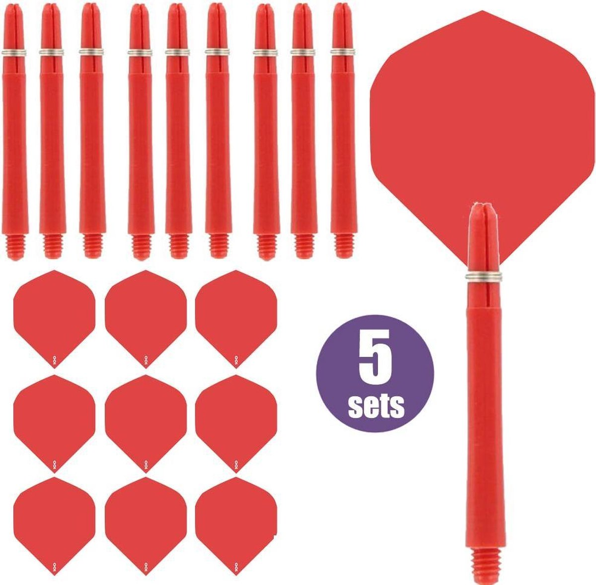 ABC Darts - Dart Flights en Dart Shafts - Rood - 5 sets