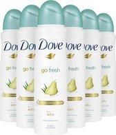 Dove Go Fresh Pear & Aloë Vera Anti-transpirant Deodorant - 6 x 150 ml - Voordeelverpakking