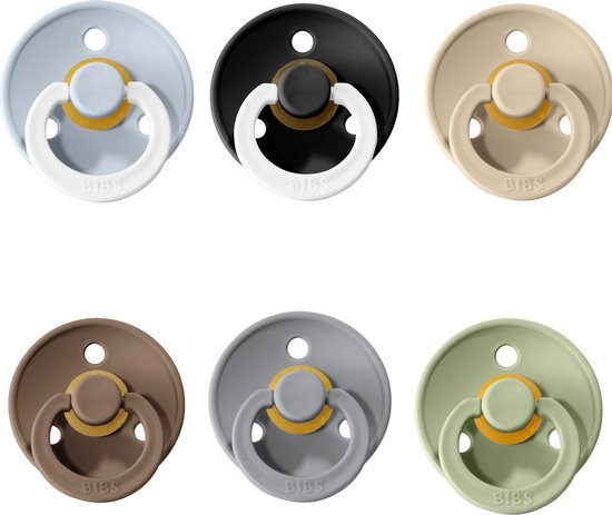 Product: Bibs fopspeen 6-18 maanden|Set 6 stuks| Sage, Cloud, Dark oak, Vanilla & Glow in the dark Black en Blue |Maat 2|T2, van het merk BIBS