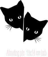 Raamsticker Gluur katten / poezen   2 stuks  Zwart  Decoratief