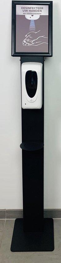 Professionele Desinfectiezuil met volautomatisch desinfectie dispenser 1200 ML - Zwart - Zware kwaliteit - No Touch hygiëne station met sensor - Desinfectiepaal Zwart