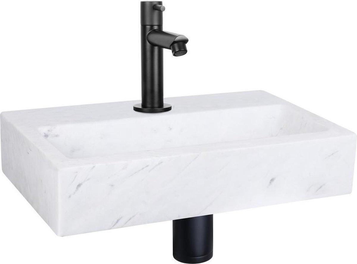 Differnz Flat Fonteinset - Marmer - Kraan recht mat zwart - 38 x 24 x 8 cm