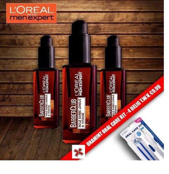 Loreal Men Expert BarberClub Baard & Gezichts Verzorging 30 ml - 3 Pack Voordeelverpakking + Oramint 4 Delig Dental Kit