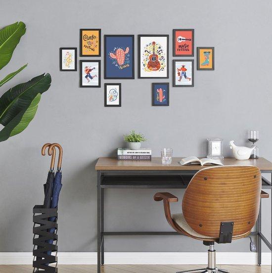 Fotowand Collage 10 Fotolijsten - Verschillende Formaten - MDF - Zwart