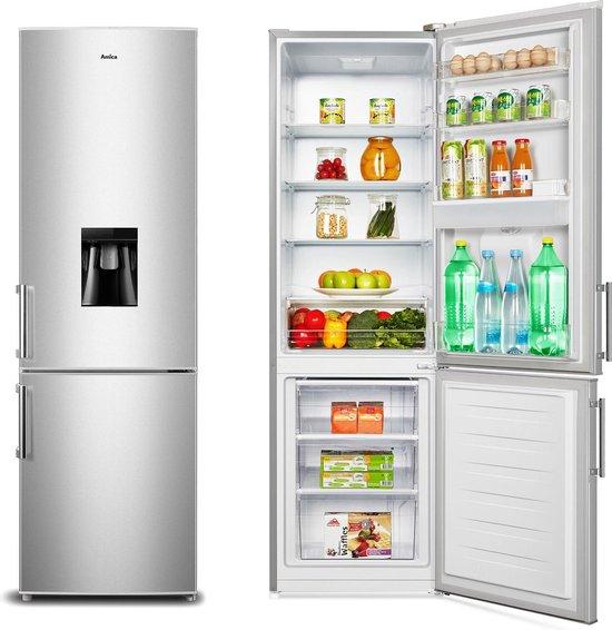 Koelkast: Amica AF8281DS  Koel-Vriescombinatie Zilver met gekoeld water-dispenser, van het merk Amica