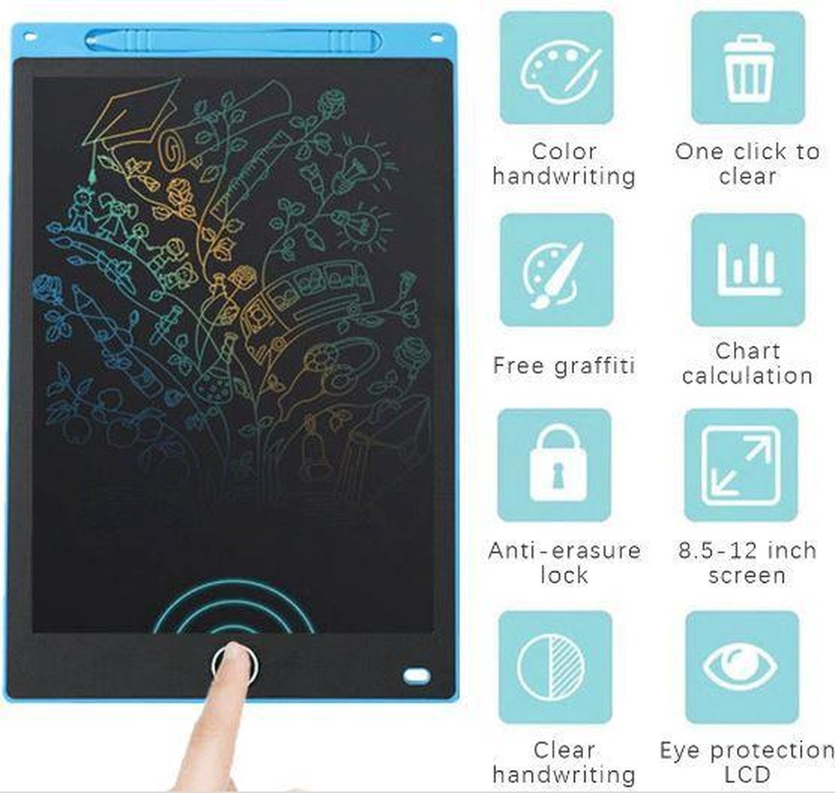 Tablet 10 Inch Blauw Lcd Schrijven Elektronische Digitale Graphics Tekentafel Doodle Pad Met Stylus Pen Draagbare Gift