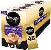 Nescafé Gold Wiener Melange Mocha oploskoffie - 6 doosjes à 8 zakjes