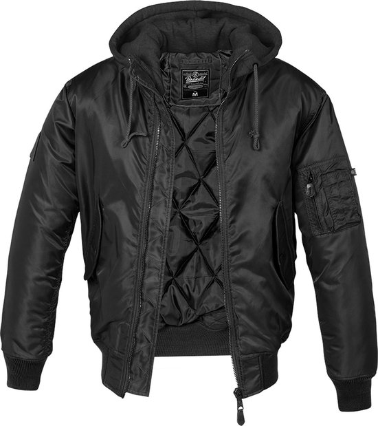 Hooded MA1 Bomber Jacket zwart