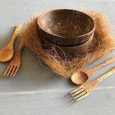 2 kokosnoot schaaltjes + 2 vorken + 2 lepels - Kom - Coconut bowl - 100% biologisch - Eco