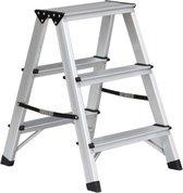 Huishoudtrap - Dubbel - 2x3 treden - Aluminium - Lichtgewicht