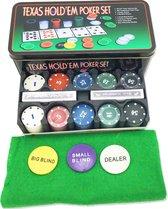 Texas Hold Em Poker / Blackjack Set - 200 Chips, Speelkleed, Kaarten