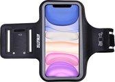 Athletix® - Universele Hardloop Armband - Sportarmband met Reflectoren - Met pasjeshouder & Sleutelhouder - 100% Spatwaterdicht - iPhone 12 - Samsung - Huawei - Zwart