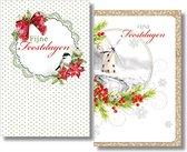 20 Dubbele Kerstkaarten - Folie - Witte envelop - 10,5 x 16 cm