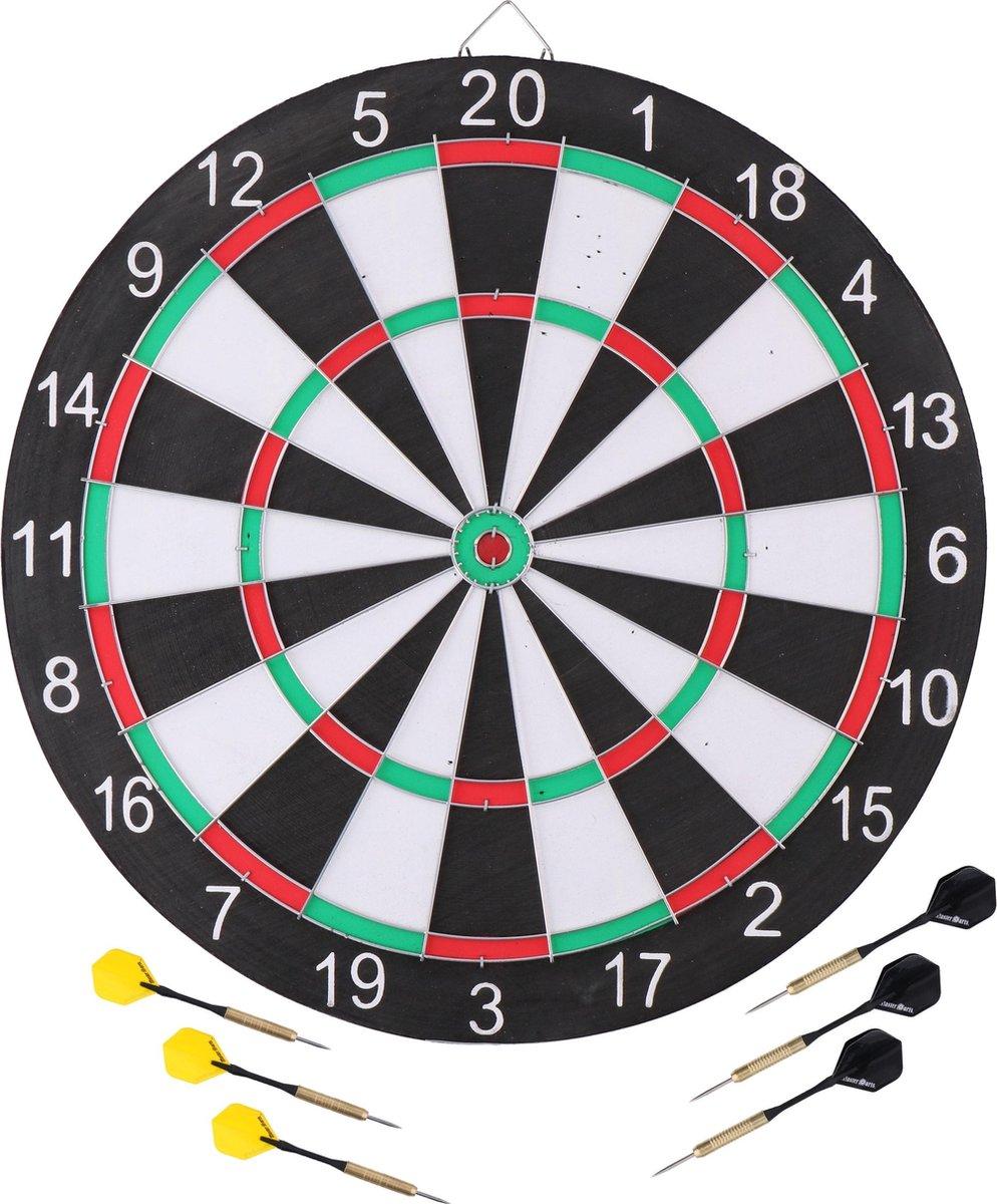 Dartbord 42 cm met 6x stuks pijlen set compleet - Dubbelzijdig familie dartboard - Darten voor thuis