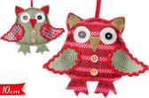 Kerstboomhangers in de vorm van uilen | 2 sets van 2 stuks | 10 cm. hoog