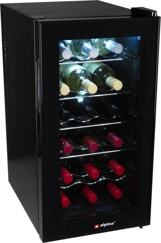 Koelkast: Alpina CW-52AA - Wijnkoelkast - 18 Flessen - Zwart, van het merk Alpina