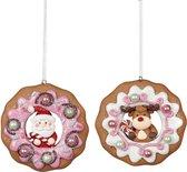 Viv! Home Luxuries Kerstbal Donut kerstman en rendier - 2 stuks - bruin roze wit - 8,5cm - topkwaliteit