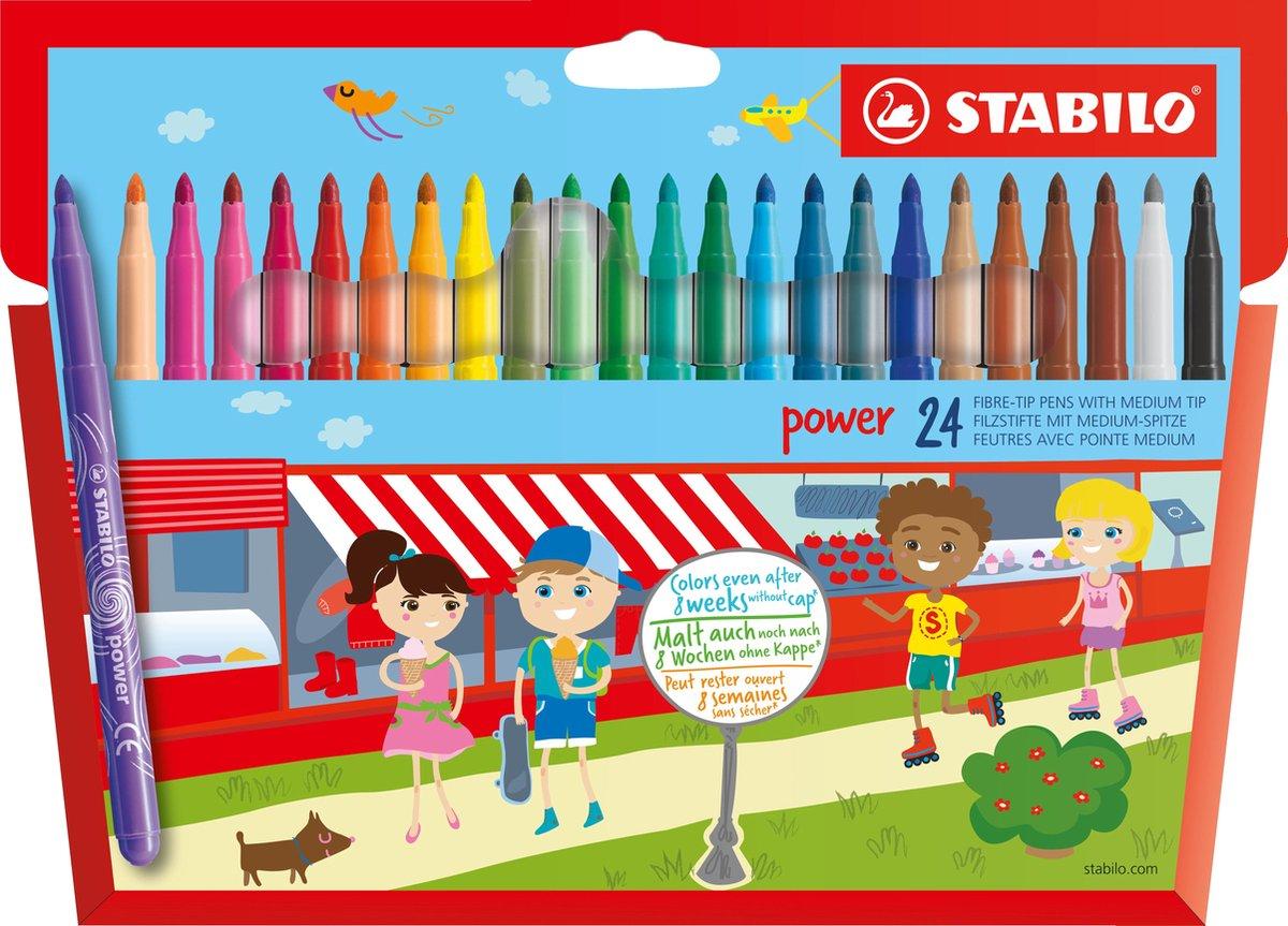 STABILO Power - Viltstift - Tot 8 Weken Zonder Dop - Etui Met 24 Kleuren
