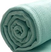 Homéé® pure'cotton - Plaid Cellular dekentje Aqua mintgroen - 130x180 cm