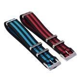 Zwart / Blauw & Zwart / Rode Nato Strap - Set van 2 Nato Straps - Chibuntu® - Mannen - Horlogebanden - 20mm bandbreedte