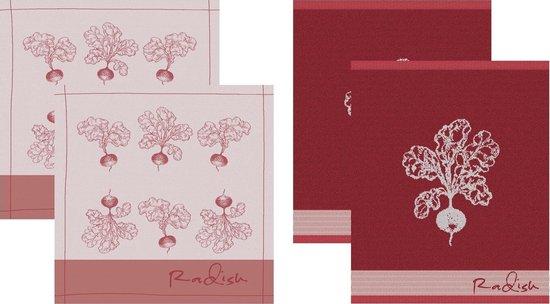 DDDDD Radish - 2 Theedoeken & 2 Keukendoeken - Red