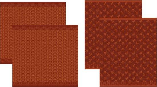 DDDDD Petals - 2 Theedoeken & 2 Keukendoeken - Autumn Red