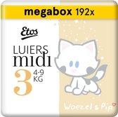 Etos Luiers Midi Maat 3 - 4-9 kg - Maandbox 192 stuks (3 x 64 stuks)