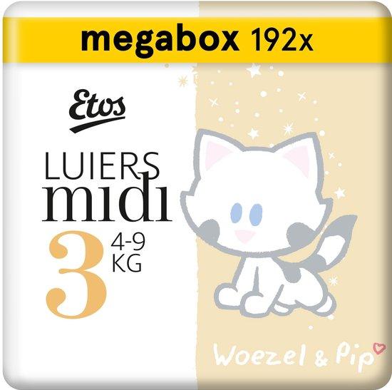 Etos Woezel & Pip - Luiers Maat 3 (4-9 kg) - Maandbox 192 stuks (3 x 64 stuks)