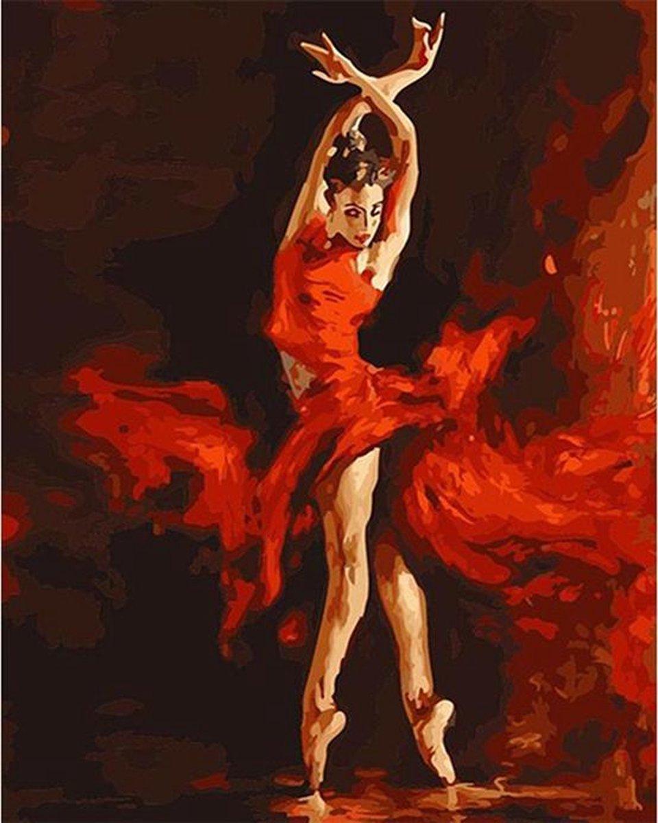 Delki® Balerina Schilderen Op Nummer Volwassenen - 40x50 cm - Houten Penselen - Gespannen Op Frame
