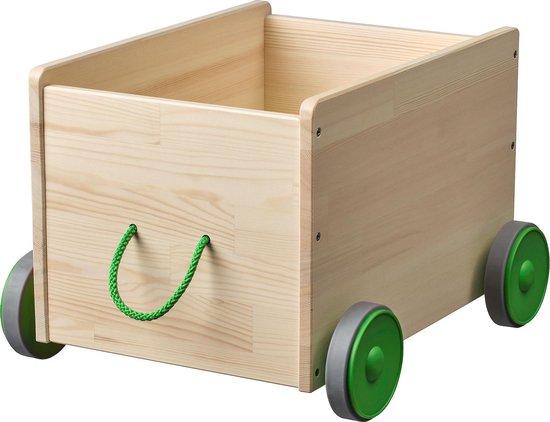 Product: Speelgoedkist op wielen 30cm x 9cm x 50cm - krat op wielen - krat met touw - speelgoed opberger, van het merk ikea