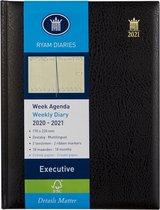 Week Agenda 2020/2021 - 18 maanden - Ryam Excutive - Zwart - 7 dagen 2 pagina's - 6 talig  - Creme papier - 17 x 22 cm