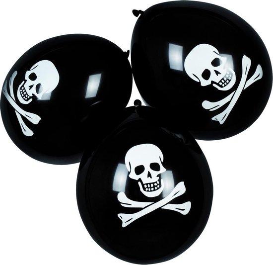 Boland - Decoratie - Piraten Latex Ballonnen Doodshoofd 25cm 6 stuks