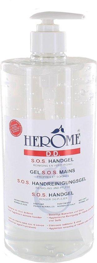 Herome Direct Desinfect Sensitive (Parfumvrij) met Pomp - 1000ml - Desinfecterende Handgel met 80% Alcohol - Beschermt Tegen Bacteriën en Droogt de Handen Niet Uit