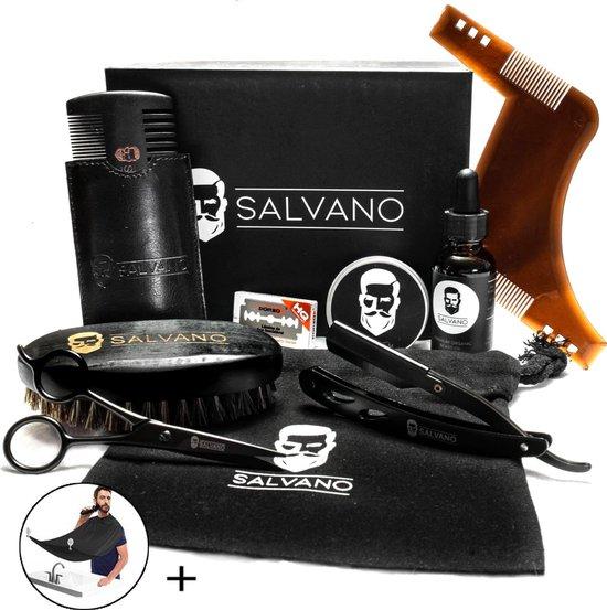 Salvano-Baard set-Baardverzorging set-Grooming kit- Baardolie - Scheermes - Baardbalsem - Baardkam - Baardborstel - Baardschort - Cadeau voor mannen-Geschenk