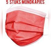 Set van 5 stuks rode wegwerp mondkapjes