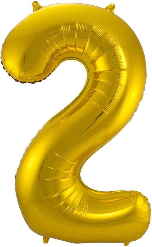 Ballon Cijfer 2 Jaar Goud Verjaardag Versiering Gouden Helium Ballonnen Feest Versiering 86 Cm XL Formaat Met Rietje